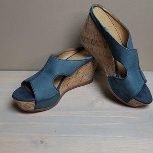 Franco Santo cork wedges blue sz 6.5
